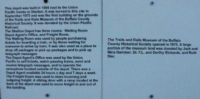 Shelton Union Pacific Depot Marker image. Click for full size.