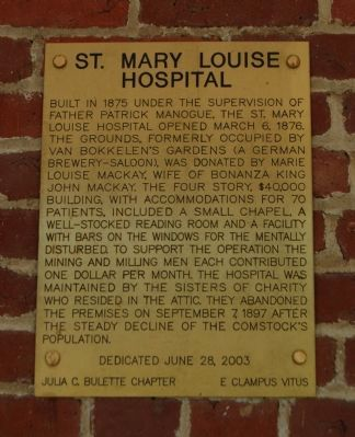 St. Mary Louise Hospital Marker image. Click for full size.
