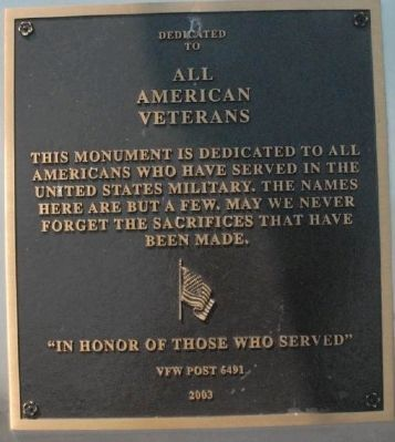 Burlington County Colorado Veterans Memorial Marker image. Click for full size.