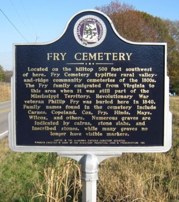 Fry Cemetery Marker image. Click for full size.