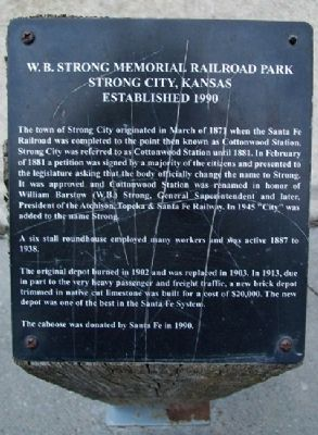 W.B. Strong Memorial Railroad Park Marker image. Click for full size.