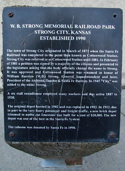 W.B. Strong Memorial Railroad Park Marker