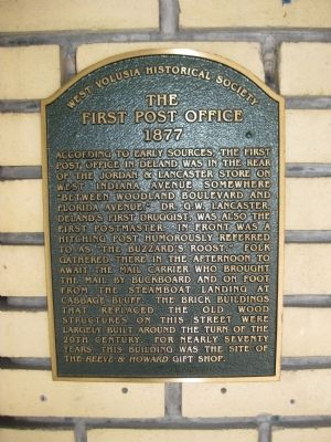 The First Post Office Marker image. Click for full size.
