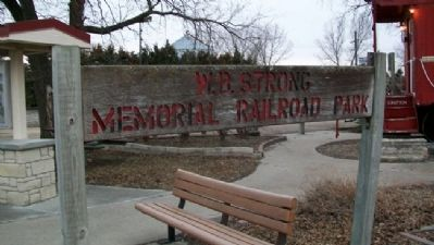 W.B. Strong Memorial Railroad Park Sign image. Click for full size.