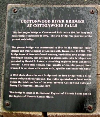 Cottonwood River Bridges at Cottonwood Falls Marker image. Click for full size.