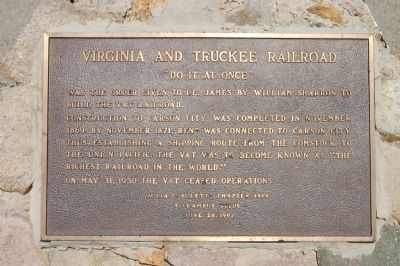 Virginia and Truckee Railroad Marker image. Click for full size.