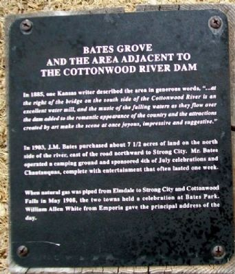 Bates Grove and the Area Adjacent to the Cottonwood River Dam Marker image. Click for full size.