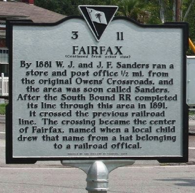 Fairfax Marker, reverse text image. Click for full size.