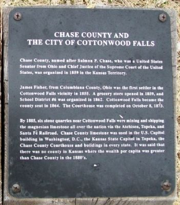 Chase County and the City of Cottonwood Falls Marker image. Click for full size.
