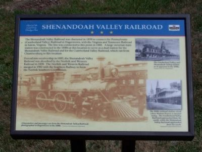 Shenandoah Valley Railroad Marker image. Click for full size.