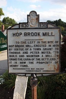 Hop Brook Mill Marker image. Click for full size.