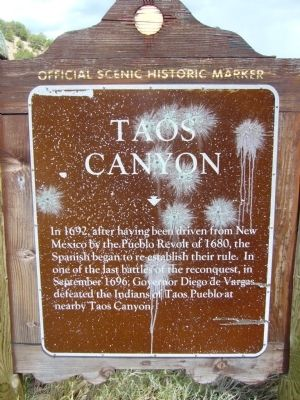 Taos Canyon Marker image. Click for full size.