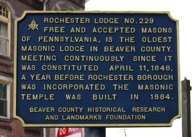 Rochester Lodge No. 229 Marker image. Click for full size.