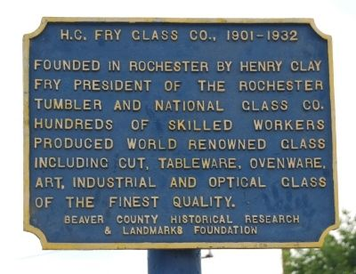 H.C. Fry Glass Co. Marker image. Click for full size.