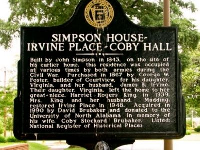 Simpson House~Irvine Place~Coby Hall Marker image. Click for full size.