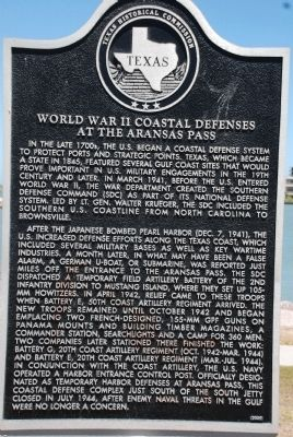 World War II Coastal Defenses at the Aransas Pass Marker image. Click for full size.