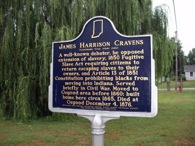 Side 'Two' - - James Harrison Cravens Marker image. Click for full size.