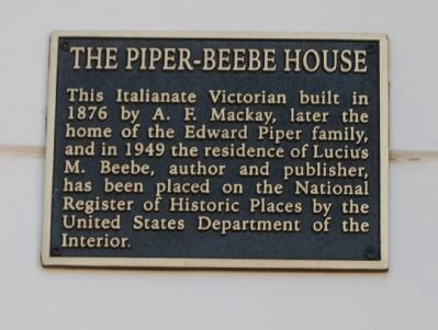 The Piper - Beebe House Marker image. Click for full size.
