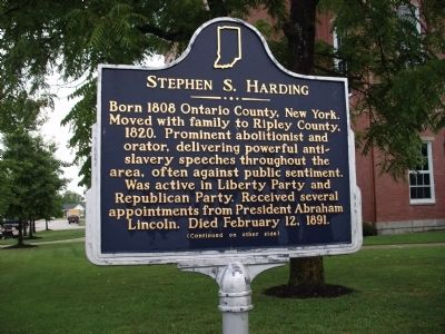 Side 'One' - - Stephen S. Harding Marker image. Click for full size.