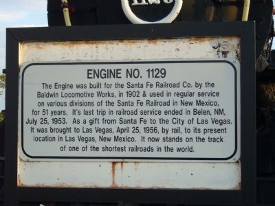 Engine No. 1129 Marker image. Click for full size.
