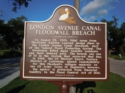 London Avenue Canal Floodwall Breach Marker image. Click for full size.