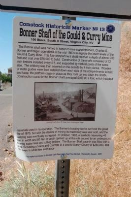 Bonner Shaft of the Gould & Curry Mine Marker image. Click for full size.