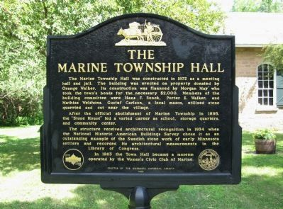The Marine Township Hall Marker image. Click for full size.