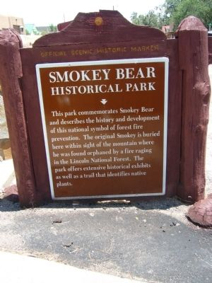 Smokey Bear Historical Park Marker image. Click for full size.