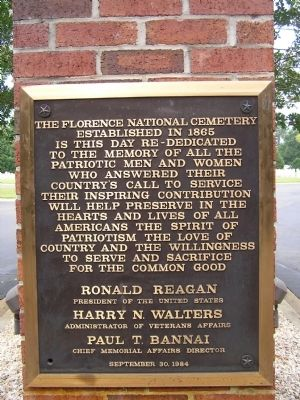 Florence National Cemetery Marker image. Click for full size.