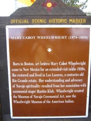 Mary Cabot Wheelwright Marker image. Click for full size.