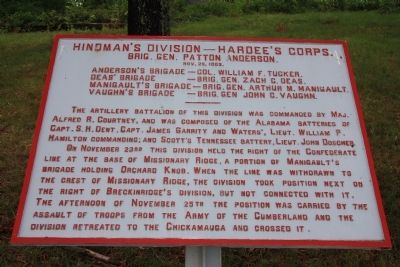 Hindman's Division - Hardee's Corps. Marker image. Click for full size.