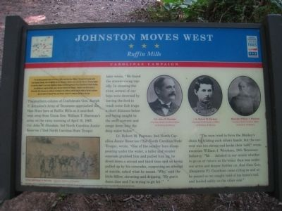 Johnston Moves West - Ruffin Mills Marker image. Click for full size.