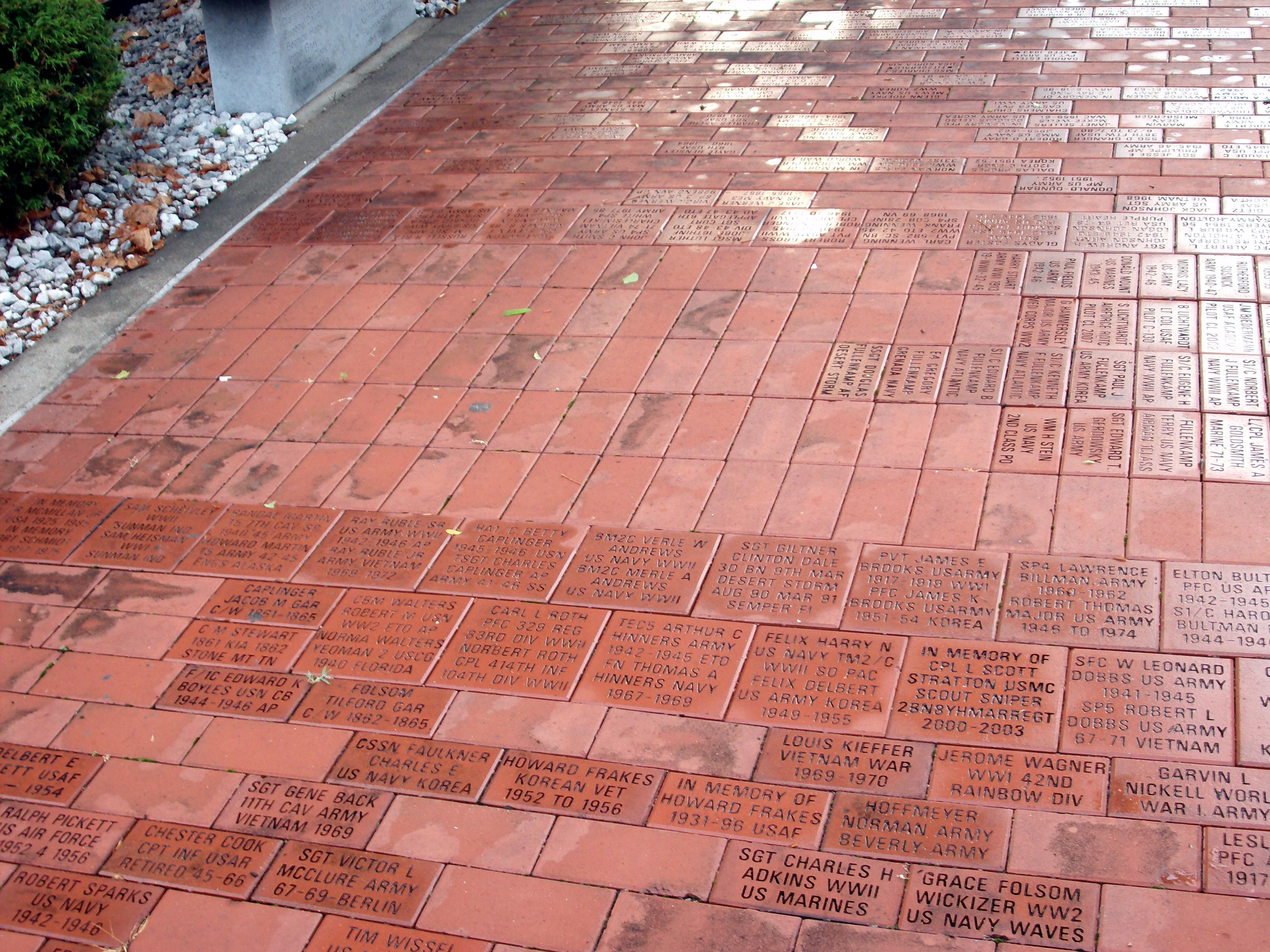 Some of the many - Memorial Bricks . . .