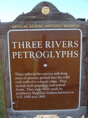 Three Rivers Petroglyphs Marker image. Click for full size.