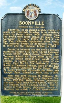 Boonville Marker (Side B) image. Click for full size.