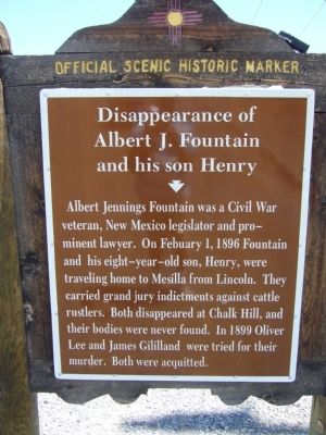 Disappearance of Albert J. Fountain and his son Henry Marker image. Click for full size.