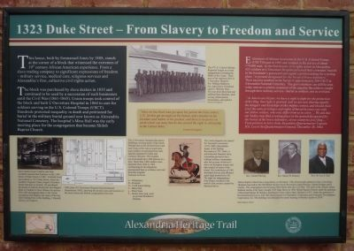 1323 Duke Street – From Slavery to Freedom and Service Marker image. Click for full size.