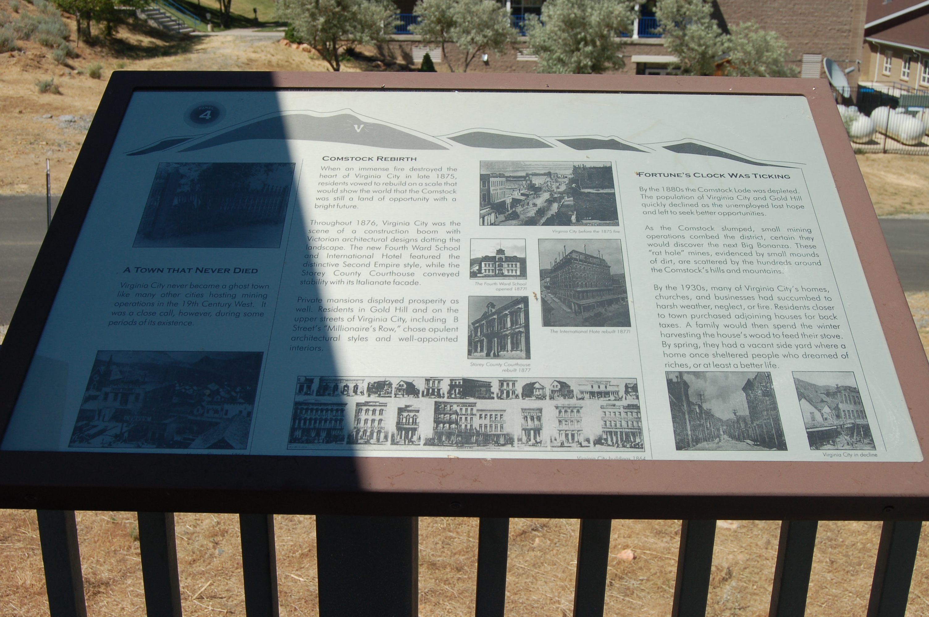 The Comstock Trail and History Kiosk Marker, Panel 4