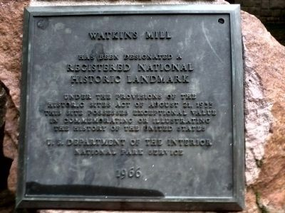 Marker designating Watkins Mill as a Registered National Historic Landmark image. Click for full size.