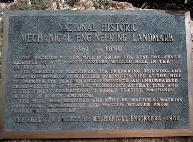 Marker designating Watkins Mill as a National Historic Mechanical Engineering Landmark image. Click for full size.