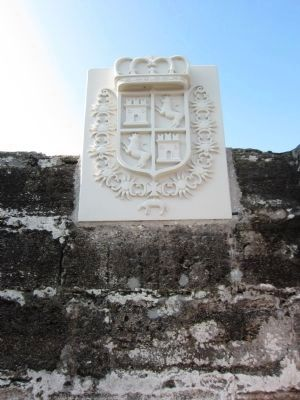 Reconstructed Spanish Coat of Arms at Entrance to Fort image. Click for full size.