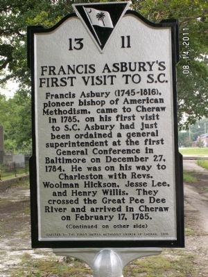 Francis Asbury's First Visit to S.C. Marker image. Click for full size.