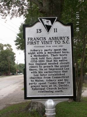 Francis Asbury's First Visit to S.C. Reverse image. Click for full size.