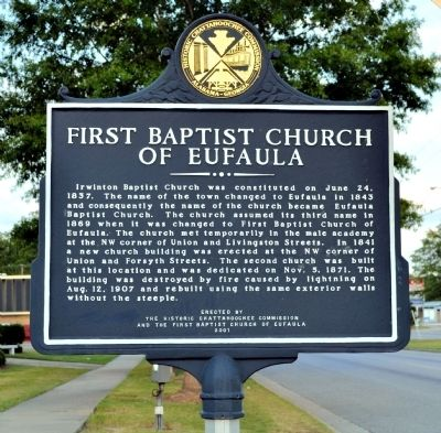 Frst Baptist Church of Eufaula Marker image. Click for full size.