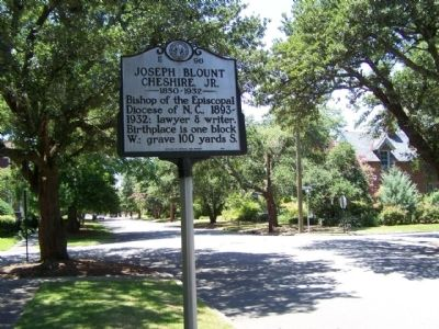 Joseph Blount Chesire, Jr. Marker, looking west, at St. David Street intersection image. Click for full size.