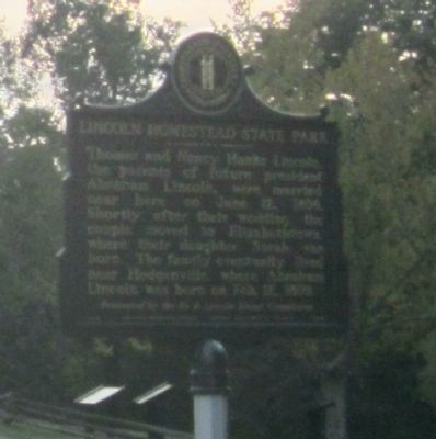 Lincoln Homestead State Park Marker (obverse) image. Click for full size.