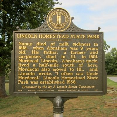 Lincoln Homestead State Park Marker (reverse) image. Click for full size.