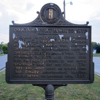 Original Fort Harrod Site Marker (obverse) image. Click for full size.
