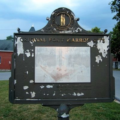 Original Fort Harrod Site Marker (reverse) image. Click for full size.
