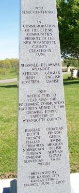 The Ethnic Communities of Wyandotte County Sesquicentennial Marker image. Click for full size.